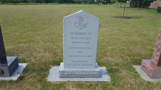 Photo of 132nd Fighter Wing memorial from visit to Iowa Veterans Cemetery on July 12, 2017