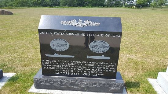 Photo of Submarine Veterans memorial from visit to Iowa Veterans Cemetery on July 12, 2017