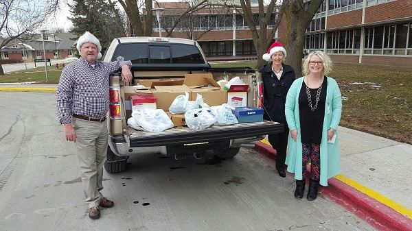 Photo of donations from Story County to Iowa Veterans Home in December 2016
