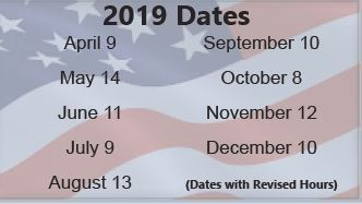 Treasurers Dates with Revised Office Hours for 2019