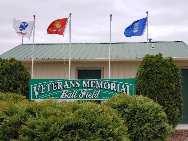 Photo of the Veterans Memorial at the ball field in Zearing